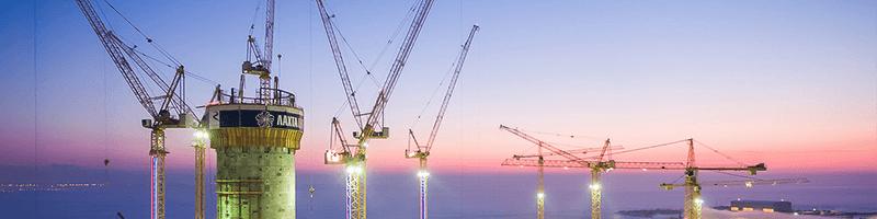 Башенные краны Liebherr на строительстве самого высокого здания Европы